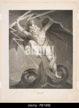 Tornado-Zeus Battling Typhon. Artist: After Henry Fuseli (Swiss, Zürich 1741-1825 London). Dimensions: image: 8 5/16 x 6 11/16 in. (21.1 x 17 cm)  sheet: 10 5/16 x 7 15/16 in. (26.2 x 20.2 cm). Engraver: William Blake (British, London 1757-1827 London). Publisher: John Johnson (London). Date: August 1, 1795. Museum: Metropolitan Museum of Art, New York, USA. - Stock Photo
