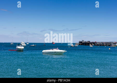 View of Swanage Bay and pier on a lovely summers afternoon, Dorset, United Kingdom - Stock Photo