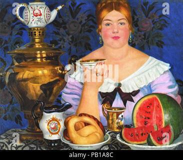 Kustodiev  Boris - Merchant's Wife Drinkinq Tea - Stock Photo