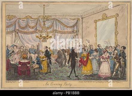 An Evening Party. Artist: George Cruikshank (British, London 1792-1878 London); After H.T.D.B. (British, 19th century). Dimensions: Image: 8 1/8 x 12 in. (20.6 x 30.5 cm)  Plate: 8 1/4 x 12 5/16 in. (21 x 31.2 cm)  Sheet: 9 7/8 x 13 3/4 in. (25.1 x 34.9 cm). Publisher: Published London by George Humphrey (British, 1773?-?1831). Date: February 3, 1826. Museum: Metropolitan Museum of Art, New York, USA. - Stock Photo