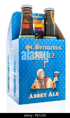 Winneconne, WI - 21 July 2018 -  A four pack of St. Bernardus ABT 12 abbey ale beer on an isolated background. - Stock Photo