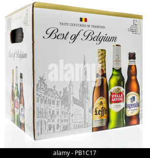 Winneconne, WI - 21 July 2018 -  A  12 pack of Best of Belgium beer with Leffe, Setlla, and hoegaarden on an isolated background. - Stock Photo