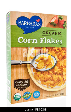 Winneconne, WI - 21 July 2018 -  A box of Barbara's organic corn flakes cereal on an isolated background. - Stock Photo