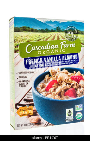 Winneconne, WI - 21 July 2018 -  A box of Cascadian Fram organic cereal on an isolated background. - Stock Photo