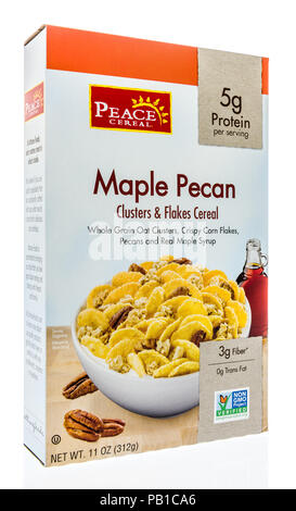 Winneconne, WI - 21 July 2018 -  A box of Peace organic cereal in maple pecan flavor on an isolated background. - Stock Photo