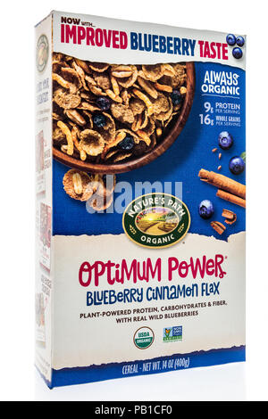 Winneconne, WI - 21 July 2018 -  A box of Natures Path organic cereal on an isolated background. - Stock Photo