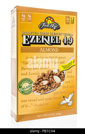 Winneconne, WI - 21 July 2018 -  A box of Food for Like Ezekiel 4:9 organic cereal on an isolated background. - Stock Photo