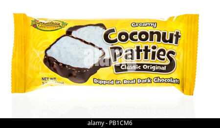 Winneconne, WI - 21 July 2018 -  A package of creamy coconut patties classic original by Anastasia confections on an isolated background. - Stock Photo