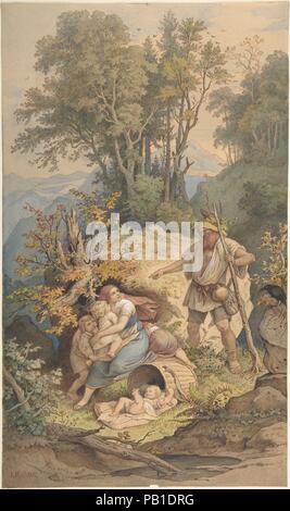 Rübezahl. Artist: Adrian Ludwig Richter (German, Dresden 1803-1884 Dresden). Dimensions: 12 1/4 x 7 1/4 in.  (31.1 x 18.4 cm). Date: 1820-84. Museum: Metropolitan Museum of Art, New York, USA. - Stock Photo