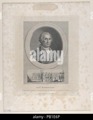 General Washington. Artist: After Charles Willson Peale (American, Chester, Maryland 1741-1827 Philadelphia, Pennsylvania). Dimensions: Plate: 9 5/8 × 8 in. (24.4 × 20.3 cm)  Sheet: 8 15/16 × 5 1/2 in. (22.7 × 14 cm). Publisher: Thomas Holloway (British, London 1748-1827 Coltishall, Norfolk). Sitter: George Washington (American, 1732-1799). Date: May 21, 1794. Museum: Metropolitan Museum of Art, New York, USA. - Stock Photo