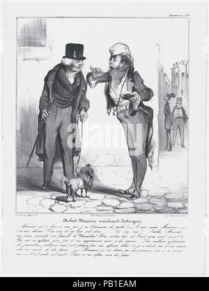 Plate 25: Robert Macaire, the genteel beggar, from 'Caricaturana,' published in Les Robert Macaires. Artist: Honoré Daumier (French, Marseilles 1808-1879 Valmondois). Author: Charles Philipon (French, Lyons 1800-1862 Paris). Dimensions: Image: 9 11/16 × 8 1/2 in. (24.6 × 21.6 cm)  Sheet: 13 7/16 × 10 1/16 in. (34.2 × 25.6 cm). Printer: Aubert et Cie; Junca. Publisher: Aubert et Cie. Series/Portfolio: 'Caricaturana'. Date: 1838.  - Do I actually have the honor of addressing you in person, Monsieur?   - Indeed, Monsieur.   - I'm delighted. You have a really nice dog with you! Would you like a sn - Stock Photo