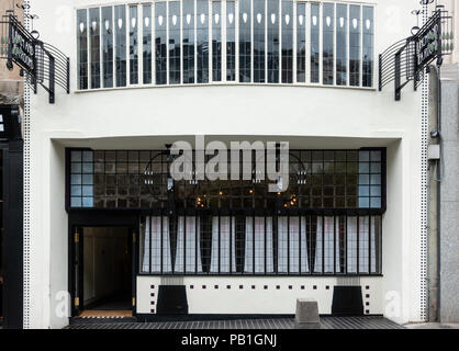 Exterior of facade of renovated Lunch and Tearooms , formerly Willow Tea Rooms, designed by Charles Rennie Mackintosh on Sauchiehall Street, Glasgow,  - Stock Photo