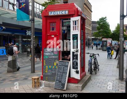 CBD Tardis Hemp Dispensary in old police box on Sauchiehall Street in Glasgow, Scotland, UK - Stock Photo
