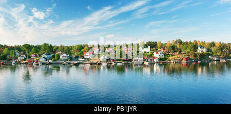 Small islands in the morning near to Stockholm - Stock Photo