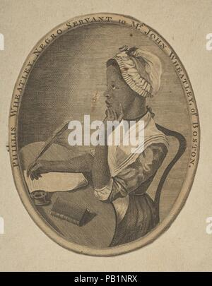 Phillis Wheatley, Negro Servant to Mr. John Wheatley of Boston. Artist: Anonymous, 18th century. Dimensions: oval sheet: 5 x 3 7/8 in. (12.7 x 9.8 cm). Sitter: Phillis Wheatley (American, Gambia 1758-1784 Massachusetts). Date: ca. 1773. Museum: Metropolitan Museum of Art, New York, USA. - Stock Photo