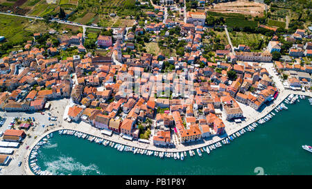 Aerial view of Old Town Stari Grad, Hvar Island, Croatia