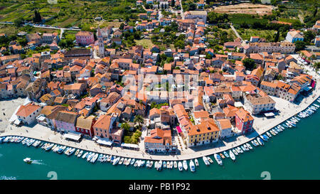 Aerial view of Old Town Stari Grad, Hvar Island, Croatia - Stock Photo