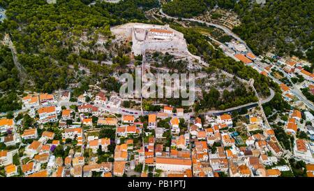 Fortica or Tvrđava Španjolo (Spanish Fort), Hvar town, Croatia - Stock Photo
