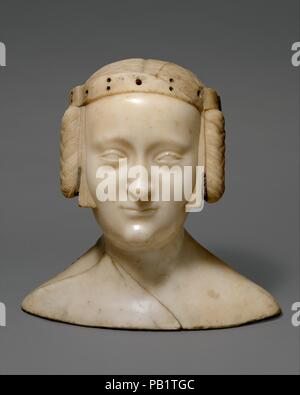 Tomb Effigy Bust of Marie de France (1327-41), daughter of Charles IV of France and Jeanne d'Evreux. Artist: Jean de Liège (Franco-Netherlandish, active ca. 1361-died 1381). Culture: French. Dimensions: Overall (without base): 12 1/4 x 12 3/4 x 6 3/16 in. (31.1 x 32.4 x 15.7 cm). Date: ca. 1381.  The Royal Abbey of Saint-Denis was the burial church for the rulers of France and their families. This elegant image once formed a part of the tomb effigy of the princess Marie de France (1326-1341) and her sister Blanche de France (1328-1393), daughters of Charles IV (1294-1328) and Jeanne d'Evreux ( - Stock Photo
