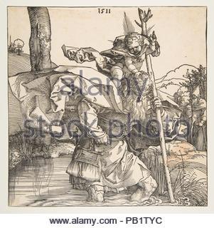 Saint Christopher. Artist: Albrecht Dürer (German, Nuremberg 1471-1528 Nuremberg). Dimensions: sheet: 8 3/8 x 8 3/8 in. (21.3 x 21.2 cm). Date: 1511. Artwork also known as: San Crsitobal. Museum: Metropolitan Museum of Art, New York, USA. - Stock Photo