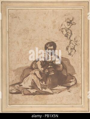Studies for a Rest on the Flight into Egypt. Artist: Rutilio Manetti (Italian, Siena 1570-1639 Siena). Dimensions: 9 7/16 x 7 1/4in. (23.9 x 18.4cm). Date: 1571-1639.  In this robust drawing for his painting now in the Gamäldegalerie of Kassel, Germany, Manetti portrayed the Madonna as a humble down-to-earth mother, giving her infant son something to drink. Although he came under the spell of Caravaggio's dramatic realism, Manetti was at first the pupil of Francesco Vanni (1563-1610), whose fantastically delicate, airborne Virgin Mary is seen at right. Listed by Claus Virch in his catalogue of - Stock Photo