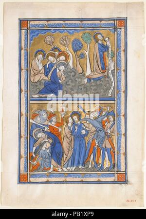 Manuscript Leaf with the Agony in the Garden and Betrayal of Christ, from a Royal Psalter. Culture: British. Dimensions: Overall: 9 1/4 x 6 1/2 in. (23.5 x 16.5 cm)  Illumination: 7 1/2 x 5 in. (19.1 x 12.7 cm)  Mat size: 14 x 11 in. (35.5 x 27.9 cm). Date: ca. 1270.  This manuscript leaf was once part of a Book of Psalms, a compendium of the 150 celebrated biblical poems of praise. This Psalter was made for an English monarch, probably Queen Eleanor of Provence (ca. 1223-1291), the wife of King Henry III. The queen likely bequeathed it to her niece, Eleanor of Brittany, who later became abbes - Stock Photo