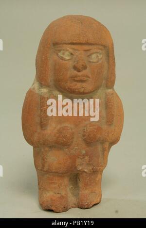 Standing Ceramic Figure. Culture: Moche. Dimensions: H x W: 6 x 3 1/8in. (15.2 x 7.9cm). Date: 3rd-5th century. Museum: Metropolitan Museum of Art, New York, USA. - Stock Photo