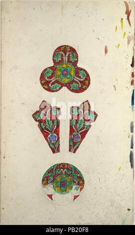 Design for a rose window. Artist: Louis Comfort Tiffany (American, New York 1848-1933 New York). Culture: American. Dimensions: Overall: 14 1/2 x 8 11/16 in. (36.8 x 22 cm). Maker: Possibly Tiffany Glass and Decorating Company (American, 1892-1902); Possibly Tiffany Studios (1902-32); Possibly Tiffany Glass Company (1885-92). Date: late 19th-early 20th century. Museum: Metropolitan Museum of Art, New York, USA. - Stock Photo