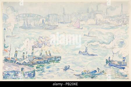 Rotterdam. Artist: Paul Signac (French, Paris 1863-1935 Paris). Dimensions: 10 x 16 1/8 in. (25.4 x 40.6 cm). Date: 1906. Museum: Metropolitan Museum of Art, New York, USA. - Stock Photo