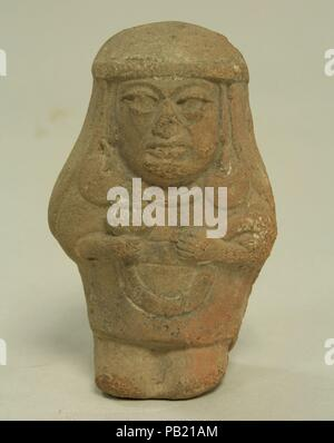 Standing Ceramic Figure. Culture: Moche. Dimensions: H x W: 4 5/8 x 2 3/4in. (11.7 x 7cm). Date: 3rd-5th century. Museum: Metropolitan Museum of Art, New York, USA. - Stock Photo