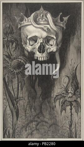 Skull Crowned with Snakes and Flowers, The Duchess of Malfi. Artist: Henry Weston Keen (British, 1899-1935 Walberswick, Suffolk). Author: John Webster (British, ca. 1580-ca. 1634). Dimensions: sheet: 6 1/8 x 9 1/2 in. (15.6 x 24.1 cm)  sheet: 22 x 14 5/8 in. (55.9 x 37.1 cm). Date: ca. 1930.  Keen worked as a printmaker and illustrator in the 1920s and 1930s, creating unsettling symbolist images reminiscent of Aubrey Beardsley. Two significant commissions were designs for luxury editions published by The Bodley Head-a firm that had launched Beardsley in the 1890s-Oscar Wilde's 'Picture of Dori - Stock Photo