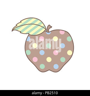 Illustration of an apple in pastel colors with polka dots and stripes on white background. - Stock Photo