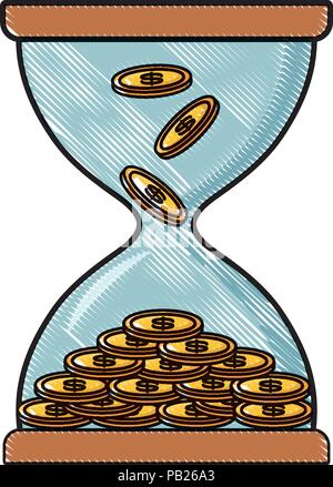 Hourglass moneybox with coins icon over white background, vector illustration - Stock Photo
