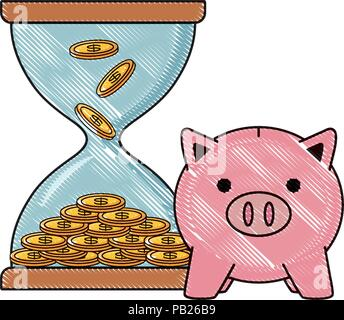 hourglass moneybox and piggy bank over white background, vector illustration - Stock Photo