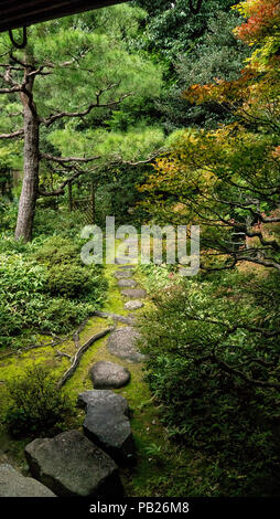 Conceived as works of art, Japanese gardens are meticulously tended. Nature is revered but highly manipulated. - Stock Photo