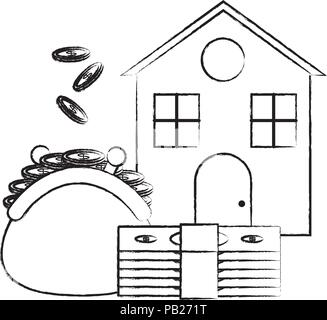 house with purse with coins and bills icon over white background, vector illustration - Stock Photo