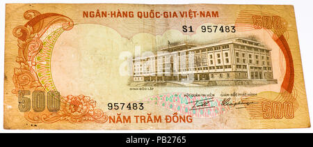 VELIKIE LUKI, RUSSIA - JULY 30, 2015: 500 dong bank note of South Vietnam. Dong is the national currency of Vietnam - Stock Photo