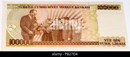 VELIKIE LUKI, RUSSIA - JULY 30, 2015: 100000 Turkish liras bank note. Turkish lira is the national currency of Turkey - Stock Photo
