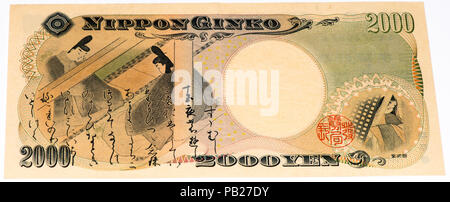 VELIKIE LUKI, RUSSIA - JULY 30, 2015: 2000 Japanese yens bank note. Japanese yen is the national currency of Japan - Stock Photo