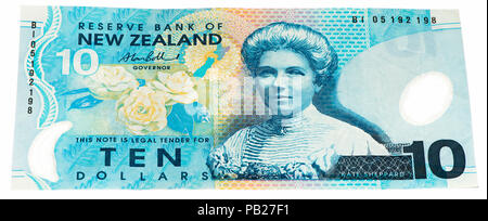 VELIKIE LUKI, RUSSIA - JULY 30, 2015: 10 New Zealand dollar bank note. New Zealender dollar is the national currency of New Zealand - Stock Photo