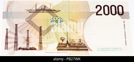 VELIKIE LUKI, RUSSIA - JULY 30, 2015: 2000 italian liras. Italian liras is the former currency of Italy - Stock Photo