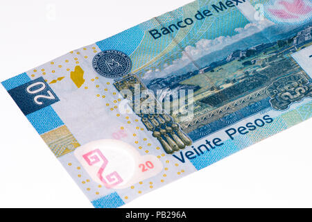 20 Mexican pesos bank note made in 2007 - Stock Photo