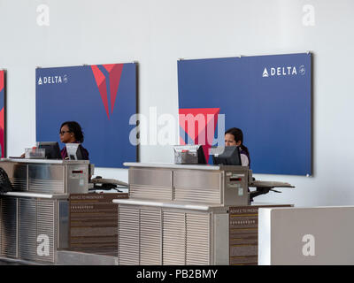 Delta Airlines check in line for passengers and baggage at Reagan National Airport - Stock Photo