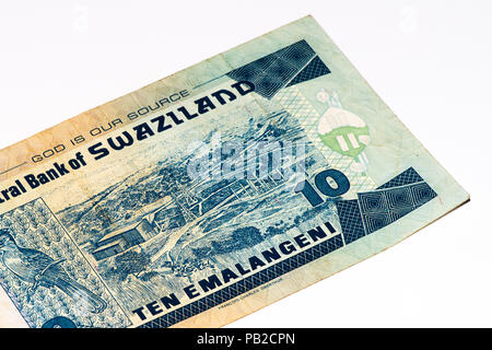 10 Swazi emalangeni bank note. Swazi emalangeni is the currency of Swaziland - Stock Photo