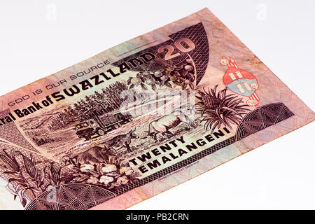 20 Swazi emalangeni bank note. Swazi emalangeni is the currency of Swaziland - Stock Photo