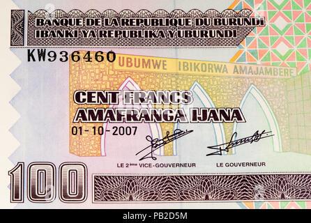 100 Burundian francs. Burundian franc is the national currency of Republic Burundi - Stock Photo