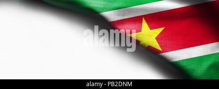 Suriname flag on white background - Stock Photo