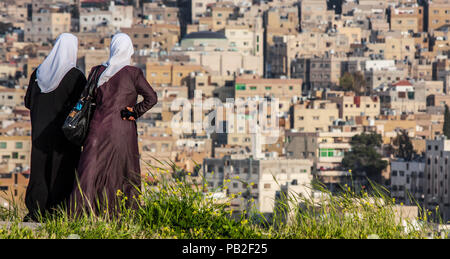 Amman, Jordan - he capital of Jordan is a city a pleasant mix of history and modernity. Here in particular the Old Town seen from the Citadel - Stock Photo