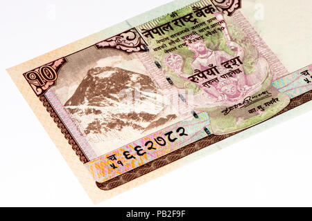 10 Nepalese rupee bank note. Nepalese rupee is the national currency of Nepal - Stock Photo