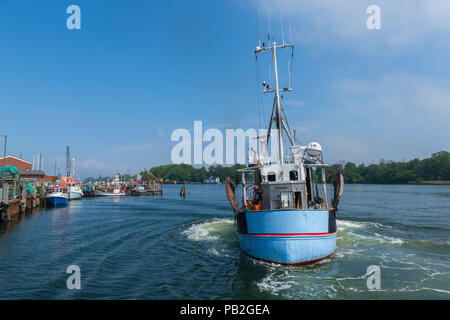 Fishing habour, Kappeln, Baltic Sea, mouth of Schlei Fjord, landscape of Angeln, Schleswig-Holstein, Germany, Europe - Stock Photo